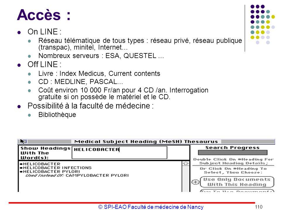 © SPI-EAO Faculté de médecine de Nancy Accès : On LINE : Réseau télématique de tous types : réseau privé, réseau publique (transpac), minitel, Interne