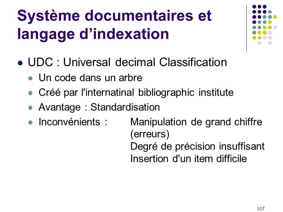 Système documentaires et langage dindexation UDC : Universal decimal Classification Un code dans un arbre Créé par l'internatinal bibliographic instit