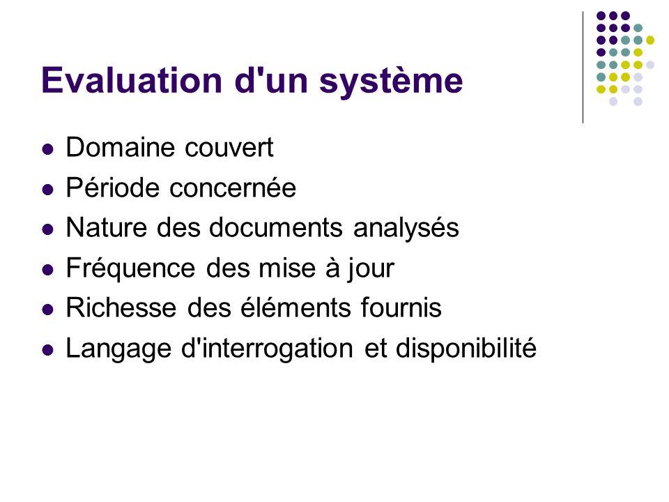Evaluation d'un système Domaine couvert Période concernée Nature des documents analysés Fréquence des mise à jour Richesse des éléments fournis Langag