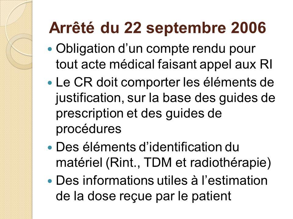 Arrêté du 22 septembre 2006 Obligation dun compte rendu pour tout acte médical faisant appel aux RI Le CR doit comporter les éléments de justification