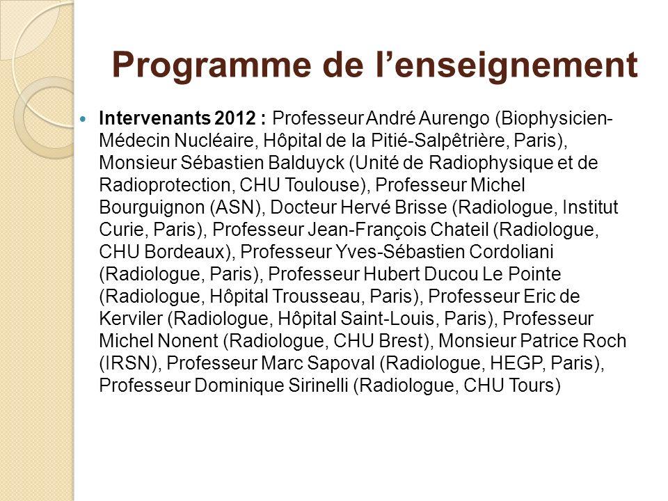 Programme de lenseignement Intervenants 2012 : Professeur André Aurengo (Biophysicien- Médecin Nucléaire, Hôpital de la Pitié-Salpêtrière, Paris), Mon