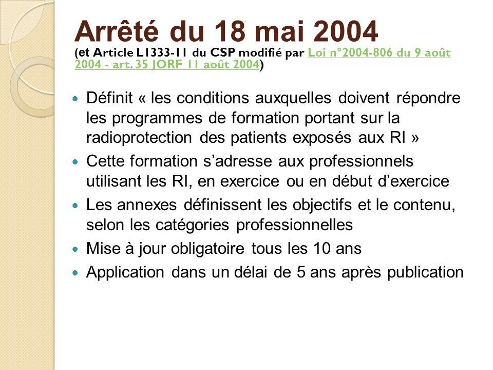Arrêté du 18 mai 2004 (et Article L1333-11 du CSP modifié par Loi n°2004-806 du 9 août 2004 - art. 35 JORF 11 août 2004)Loi n°2004-806 du 9 août 2004