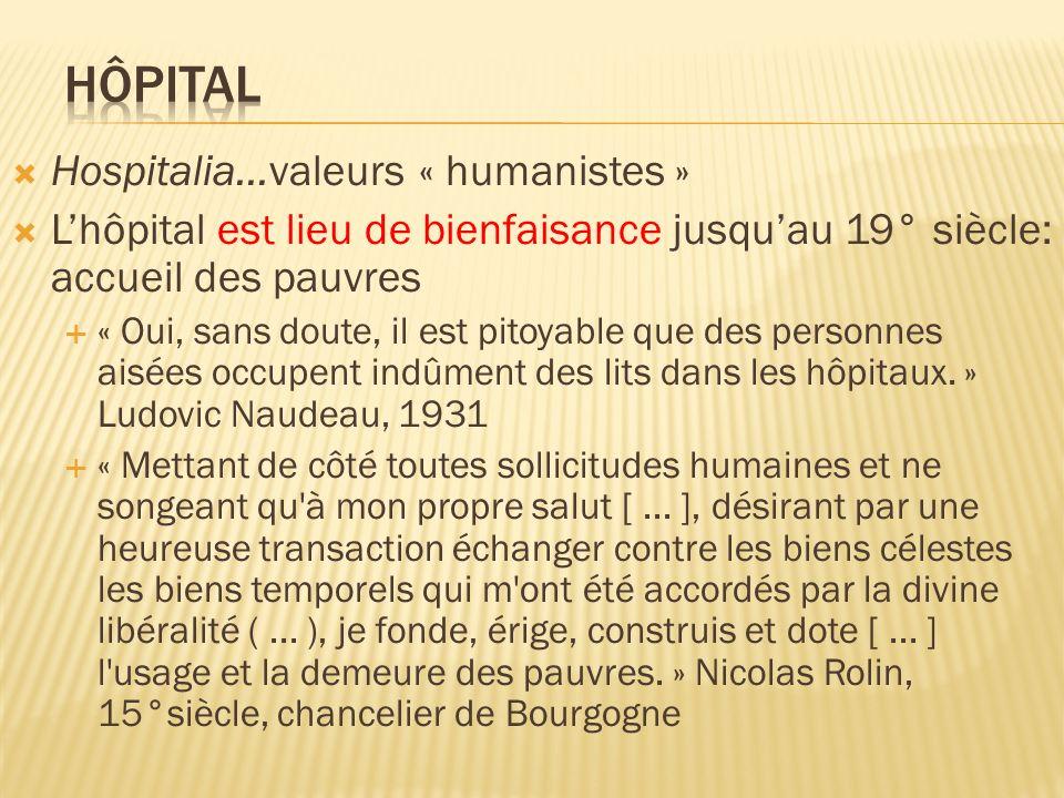 Hospitalia…valeurs « humanistes » Lhôpital est lieu de bienfaisance jusquau 19° siècle: accueil des pauvres « Oui, sans doute, il est pitoyable que de