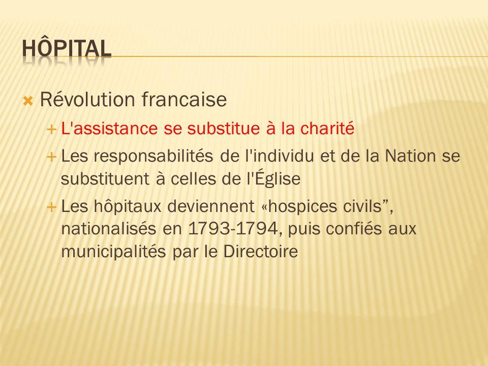 Révolution francaise L'assistance se substitue à la charité Les responsabilités de l'individu et de la Nation se substituent à celles de l'Église Les