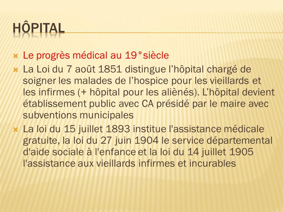 Le progrès médical au 19°siècle La Loi du 7 août 1851 distingue lhôpital chargé de soigner les malades de lhospice pour les vieillards et les infirmes