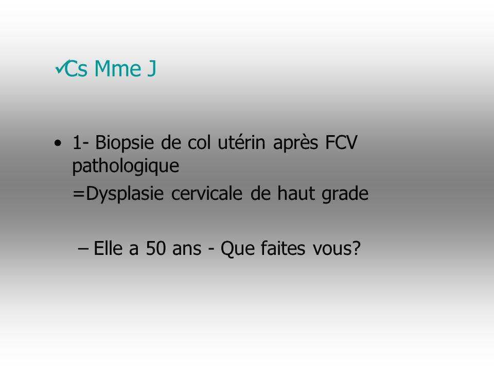 Cs Mme J - Cancer du col utérin 1- Biopsie de col utérin après FCV pathologique =Dysplasie cervicale de haut grade –Elle a 50 ans - Que faites vous.