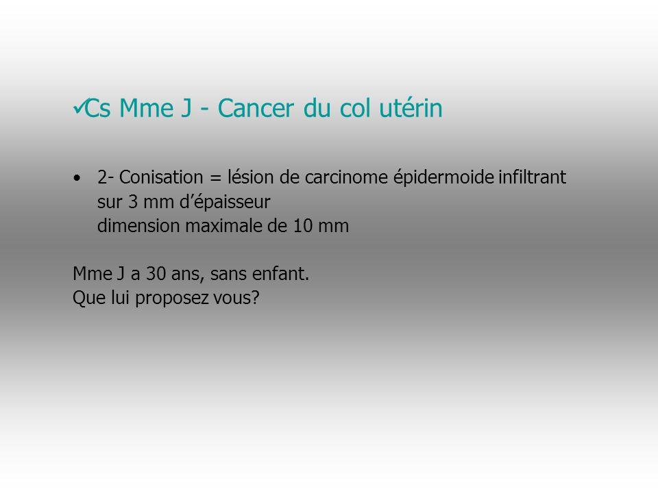 2- Conisation = lésion de carcinome épidermo ï de infiltrant sur 3 mm dépaisseur dimension maximale de 10 mm Mme J a 30 ans, sans enfant.