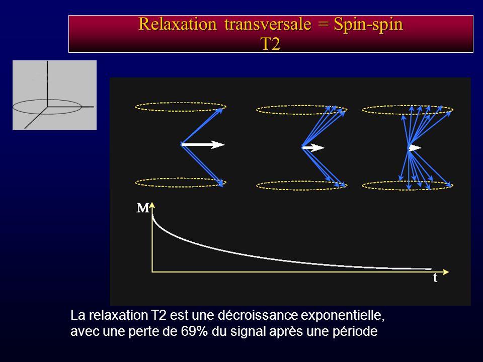 La relaxation T2 est une décroissance exponentielle, avec une perte de 69% du signal après une période Relaxation transversale = Spin-spin T2