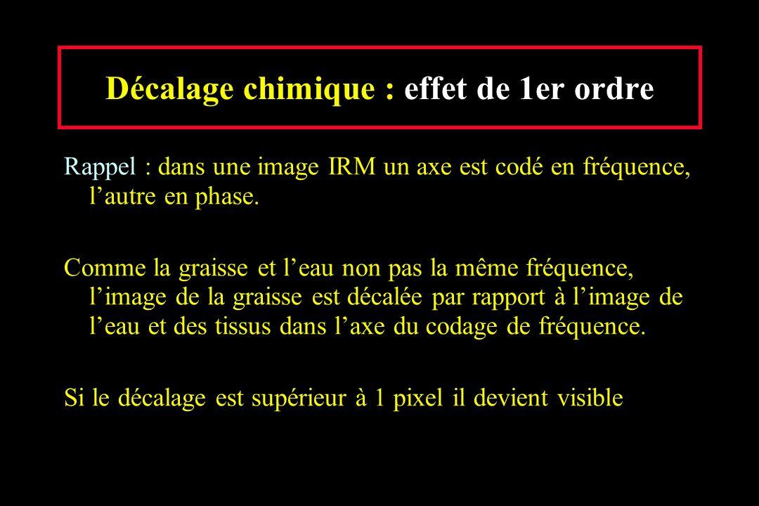 Décalage chimique : effet de 1er ordre Rappel : dans une image IRM un axe est codé en fréquence, lautre en phase. Comme la graisse et leau non pas la