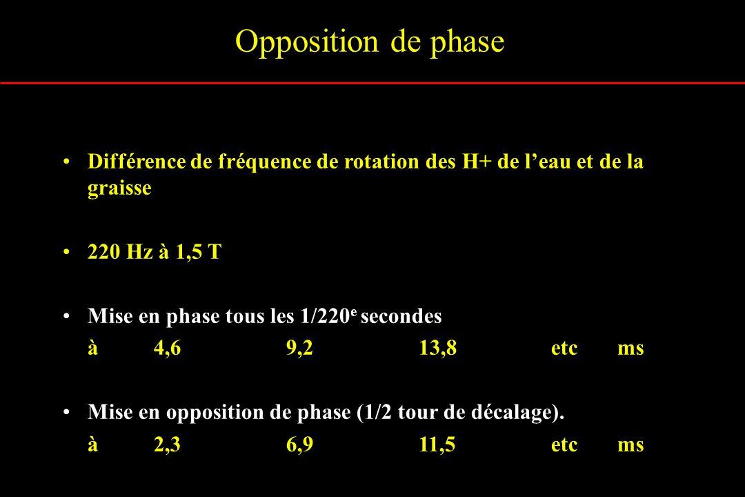Opposition de phase Différence de fréquence de rotation des H+ de leau et de la graisse 220 Hz à 1,5 T Mise en phase tous les 1/220 e secondes à4,69,2