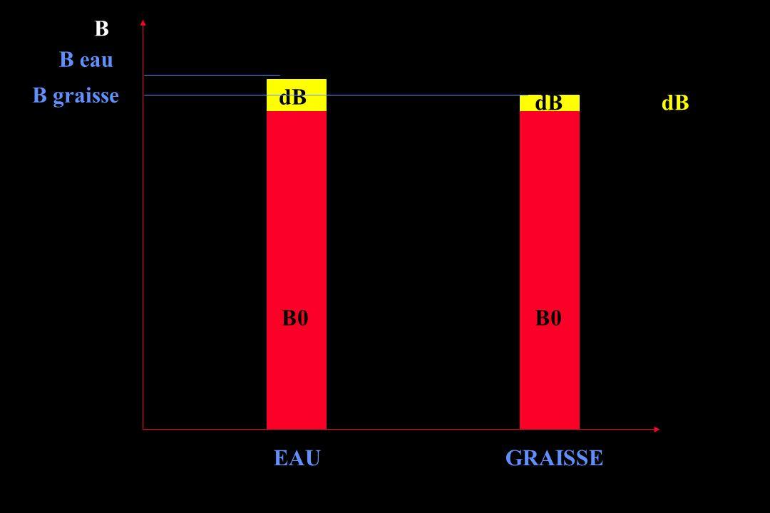 Opposition de phase Différence de fréquence de rotation des H+ de leau et de la graisse 220 Hz à 1,5 T Mise en phase tous les 1/220 e secondes à4,69,213,8etcms Mise en opposition de phase (1/2 tour de décalage)..