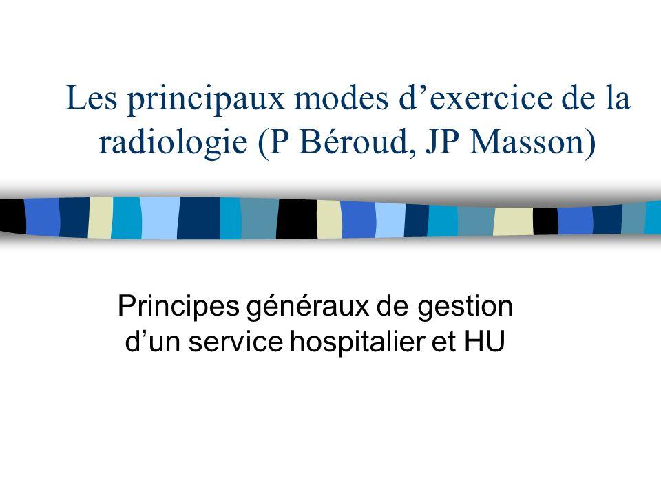 Les principaux modes dexercice de la radiologie (P Béroud, JP Masson) Principes généraux de gestion dun service hospitalier et HU