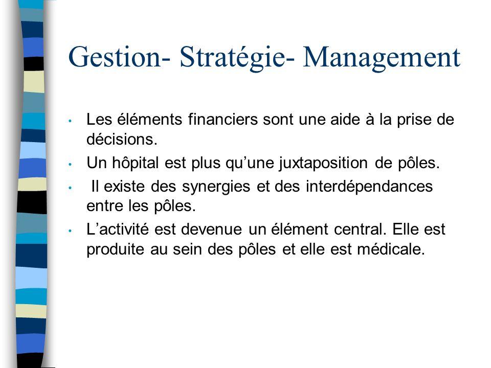 Gestion- Stratégie- Management Les éléments financiers sont une aide à la prise de décisions. Un hôpital est plus quune juxtaposition de pôles. Il exi
