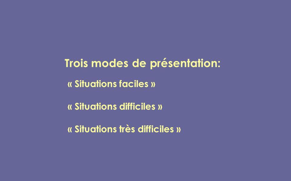 « Situations faciles » « Situations difficiles » « Situations très difficiles » Trois modes de présentation: