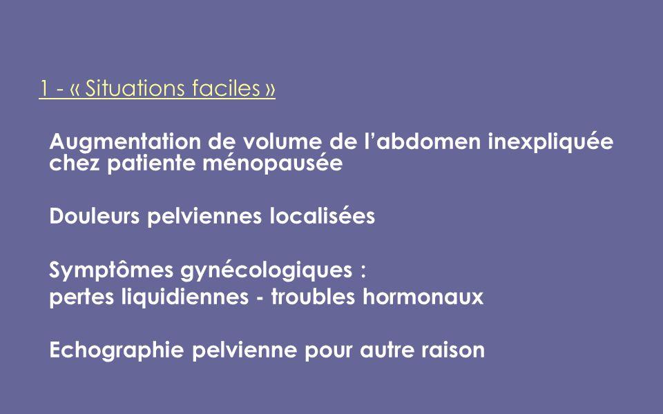 1 - « Situations faciles » Augmentation de volume de labdomen inexpliquée chez patiente ménopausée Douleurs pelviennes localisées Symptômes gynécologiques : pertes liquidiennes - troubles hormonaux Echographie pelvienne pour autre raison