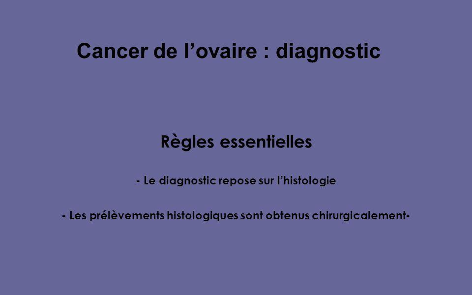 Règles essentielles - Le diagnostic repose sur lhistologie - Les prélèvements histologiques sont obtenus chirurgicalement- Cancer de lovaire : diagnostic