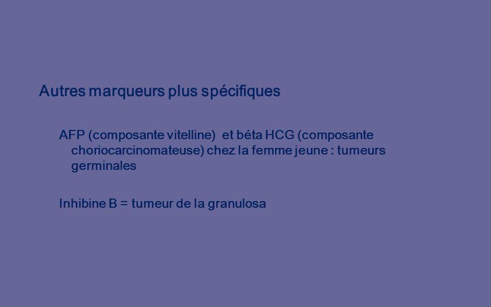 Autres marqueurs plus spécifiques AFP (composante vitelline) et béta HCG (composante choriocarcinomateuse) chez la femme jeune : tumeurs germinales Inhibine B = tumeur de la granulosa