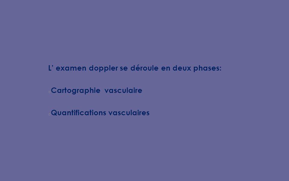 L examen doppler se déroule en deux phases: o Cartographie vasculaire o Quantifications vasculaires