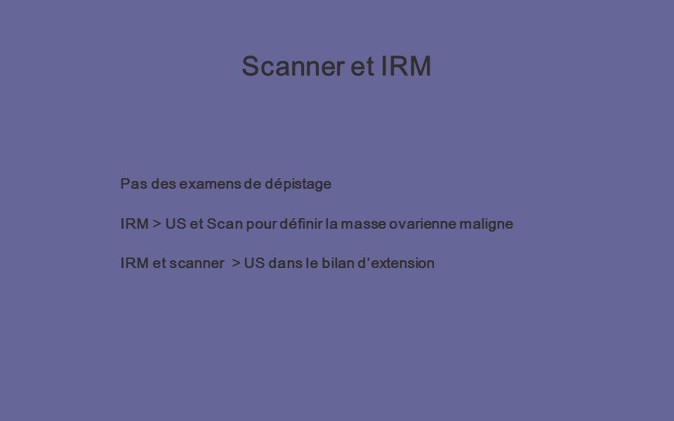 Scanner et IRM Pas des examens de dépistage IRM > US et Scan pour définir la masse ovarienne maligne IRM et scanner > US dans le bilan dextension