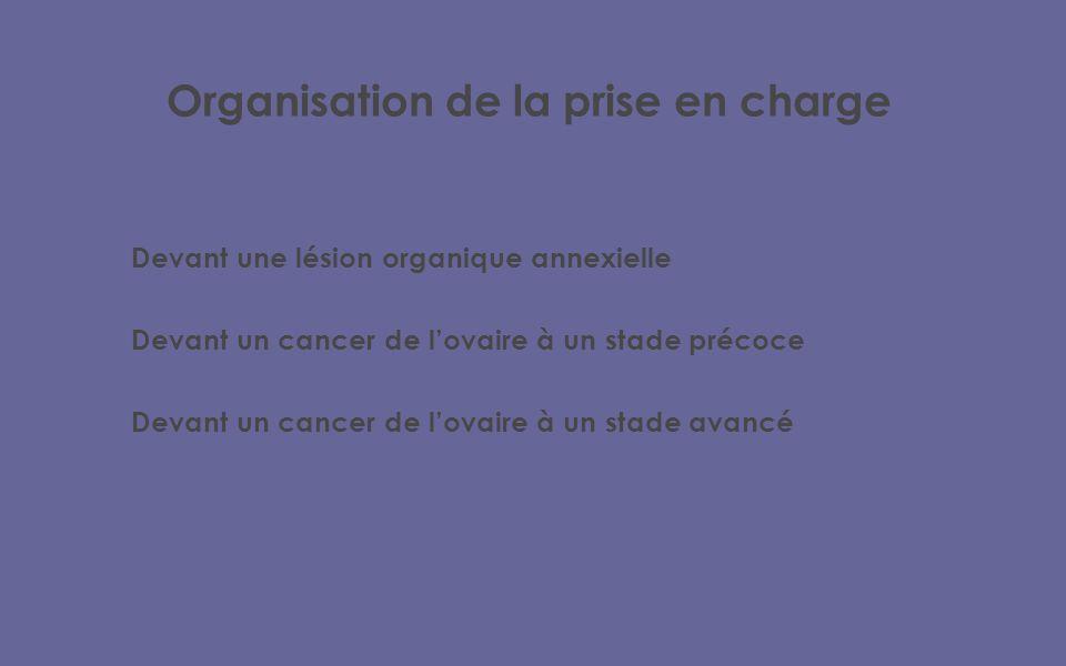 Organisation de la prise en charge Devant une lésion organique annexielle Devant un cancer de lovaire à un stade précoce Devant un cancer de lovaire à un stade avancé
