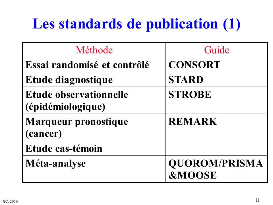 GC, 2010 11 Les standards de publication (1) MéthodeGuide Essai randomisé et contrôléCONSORT Etude diagnostiqueSTARD Etude observationnelle (épidémiol