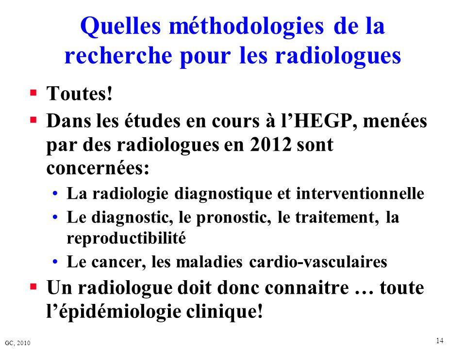 GC, 2010 14 Quelles méthodologies de la recherche pour les radiologues Toutes! Dans les études en cours à lHEGP, menées par des radiologues en 2012 so
