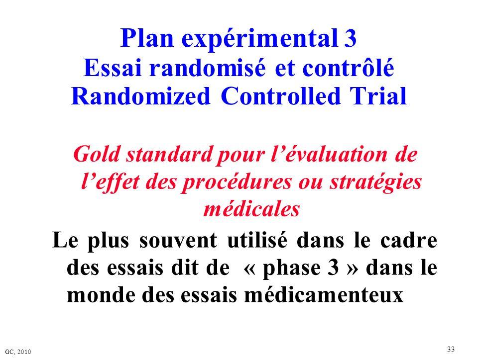 GC, 2010 33 Plan expérimental 3 Essai randomisé et contrôlé Randomized Controlled Trial Gold standard pour lévaluation de leffet des procédures ou str