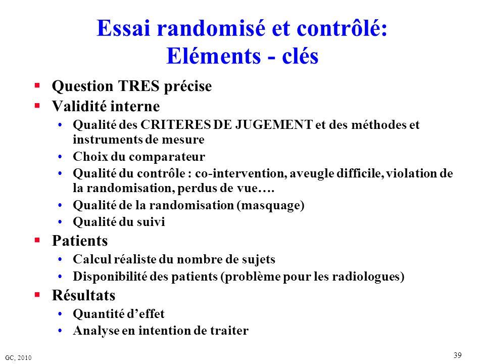 GC, 2010 39 Essai randomisé et contrôlé: Eléments - clés Question TRES précise Validité interne Qualité des CRITERES DE JUGEMENT et des méthodes et in