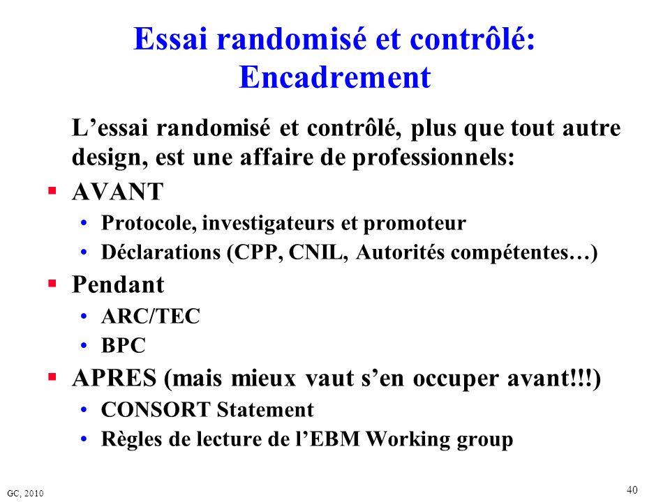 GC, 2010 40 Essai randomisé et contrôlé: Encadrement Lessai randomisé et contrôlé, plus que tout autre design, est une affaire de professionnels: AVAN