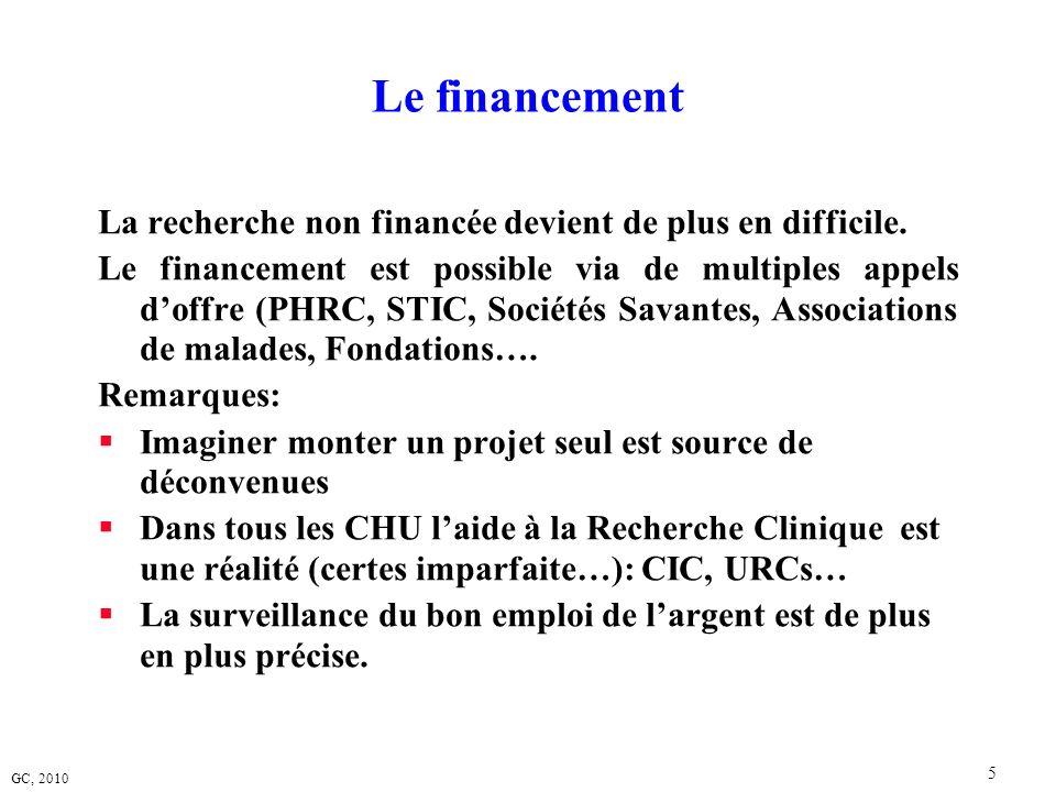 GC, 2010 5 Le financement La recherche non financée devient de plus en difficile. Le financement est possible via de multiples appels doffre (PHRC, ST