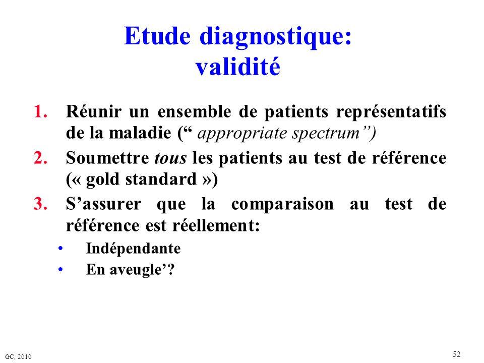 GC, 2010 52 Etude diagnostique: validité 1.Réunir un ensemble de patients représentatifs de la maladie ( appropriate spectrum) 2.Soumettre tous les pa