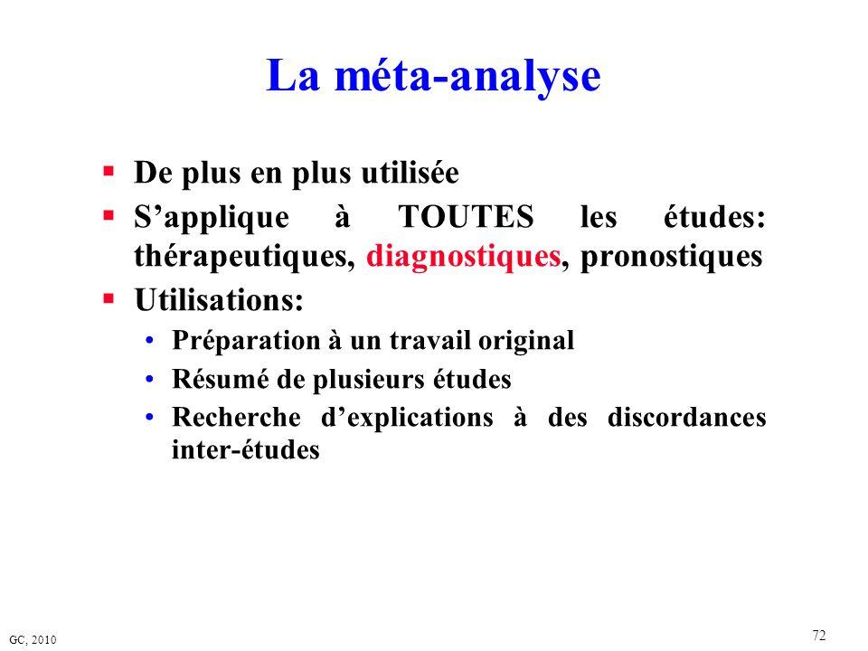 GC, 2010 72 La méta-analyse De plus en plus utilisée Sapplique à TOUTES les études: thérapeutiques, diagnostiques, pronostiques Utilisations: Préparat