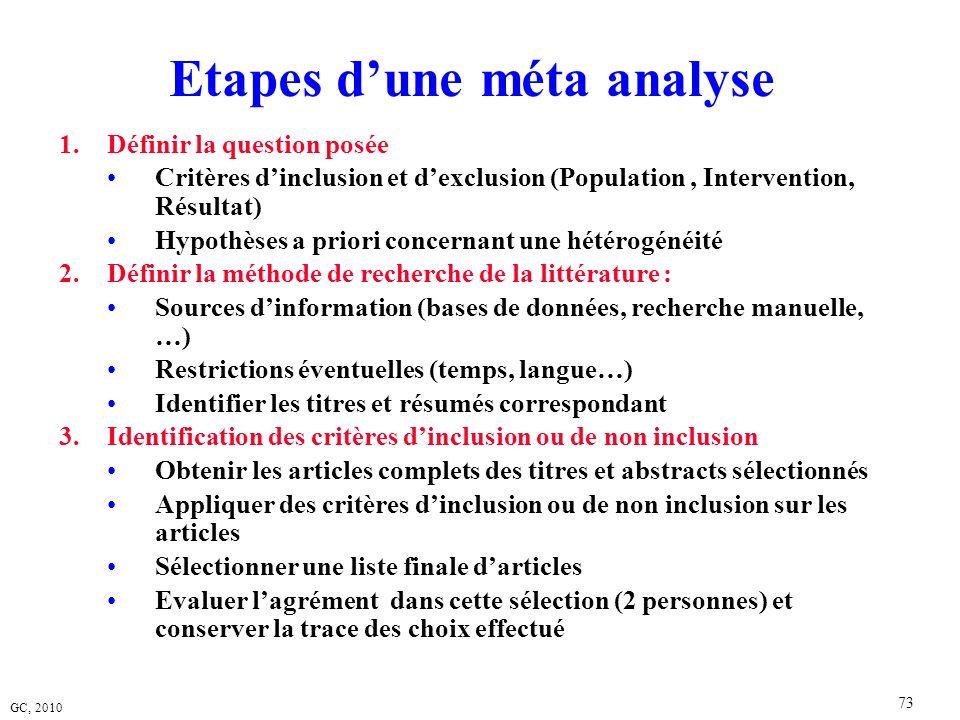 GC, 2010 73 Etapes dune méta analyse 1.Définir la question posée Critères dinclusion et dexclusion (Population, Intervention, Résultat) Hypothèses a p