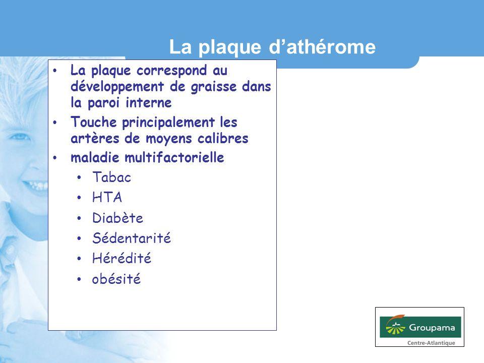 La plaque dathérome La plaque correspond au développement de graisse dans la paroi interne Touche principalement les artères de moyens calibres maladi