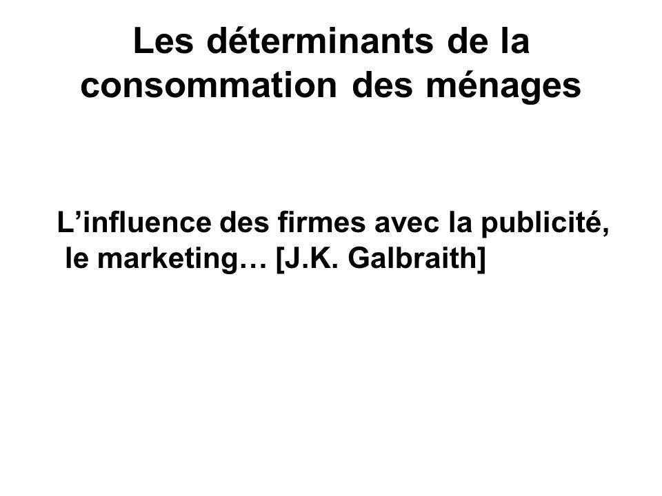 Les déterminants de la consommation des ménages Linfluence des firmes avec la publicité, le marketing… [J.K. Galbraith]