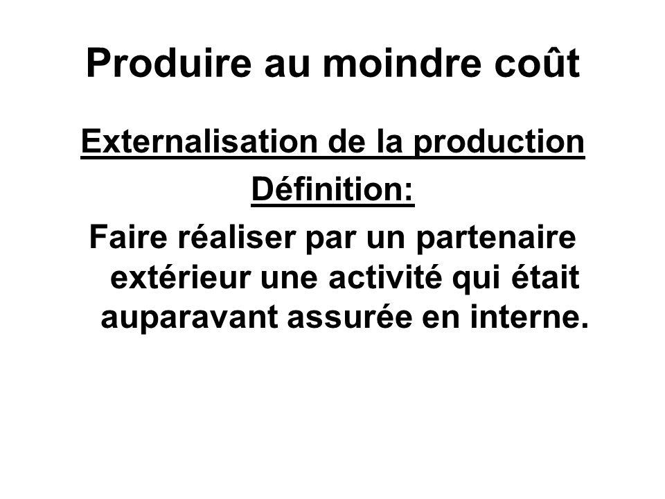 Produire au moindre coût Externalisation de la production Définition: Faire réaliser par un partenaire extérieur une activité qui était auparavant assurée en interne.