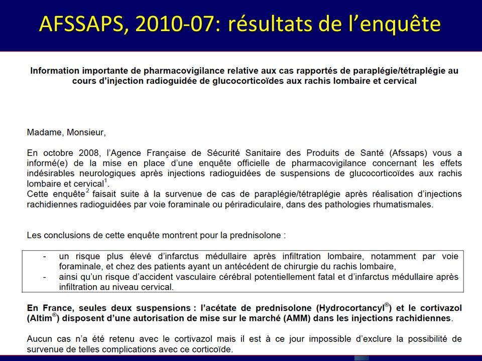 AFSSAPS, 2010-07: résultats de lenquête