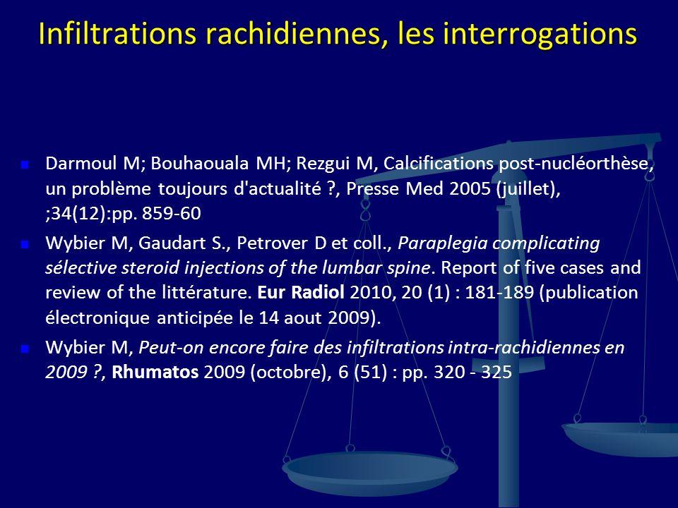 Infiltrations rachidiennes, les interrogations Darmoul M; Bouhaouala MH; Rezgui M, Calcifications post-nucléorthèse, un problème toujours d'actualité