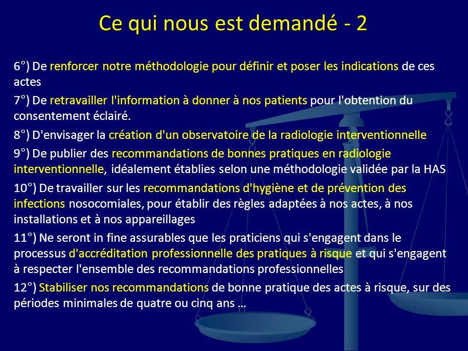 Ce qui nous est demandé - 2 6°) De renforcer notre méthodologie pour définir et poser les indications de ces actes 7°) De retravailler l'information à
