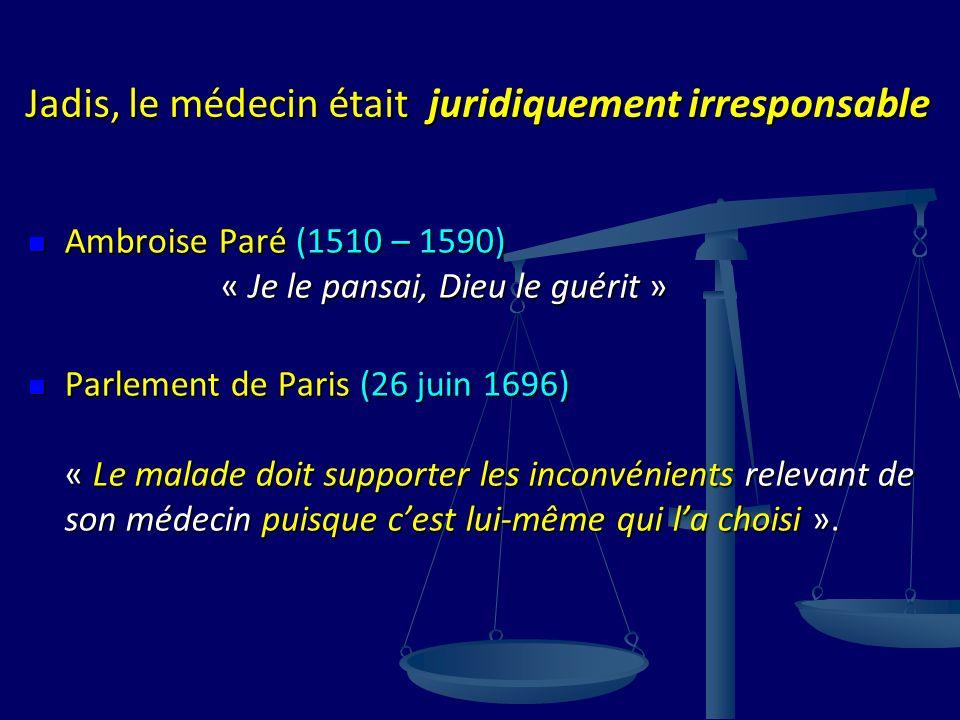 Jadis, le médecin était juridiquement irresponsable Ambroise Paré (1510 – 1590) « Je le pansai, Dieu le guérit » Ambroise Paré (1510 – 1590) « Je le p
