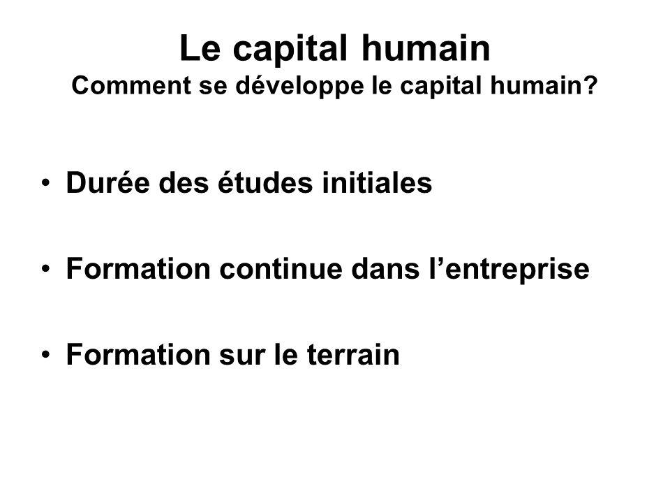 Le capital humain Comment se développe le capital humain.