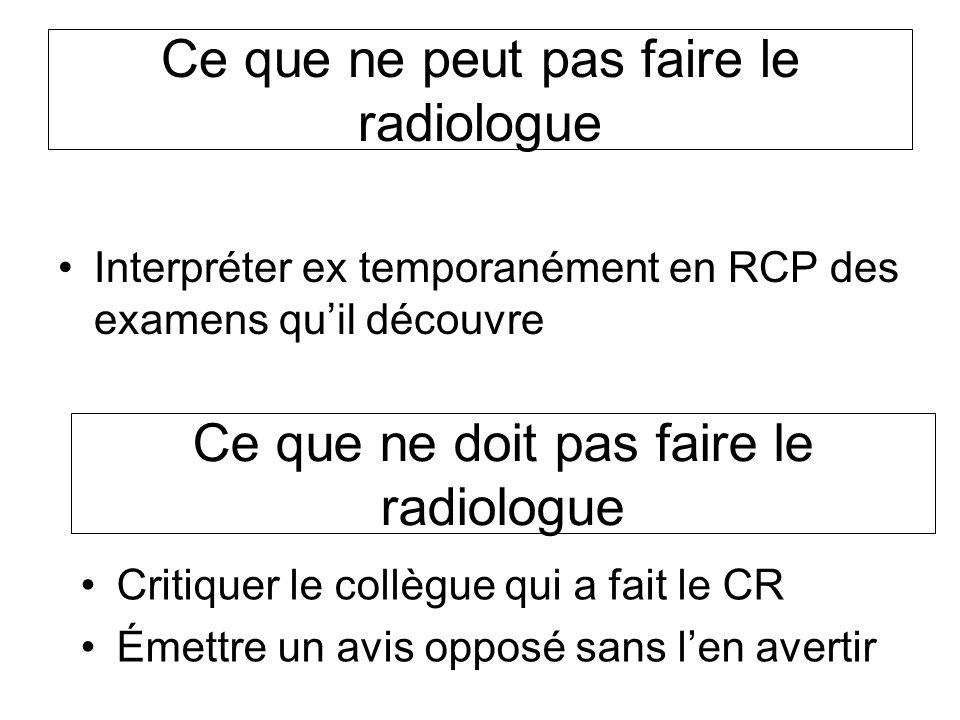 Ce que ne peut pas faire le radiologue Interpréter ex temporanément en RCP des examens quil découvre Ce que ne doit pas faire le radiologue Critiquer