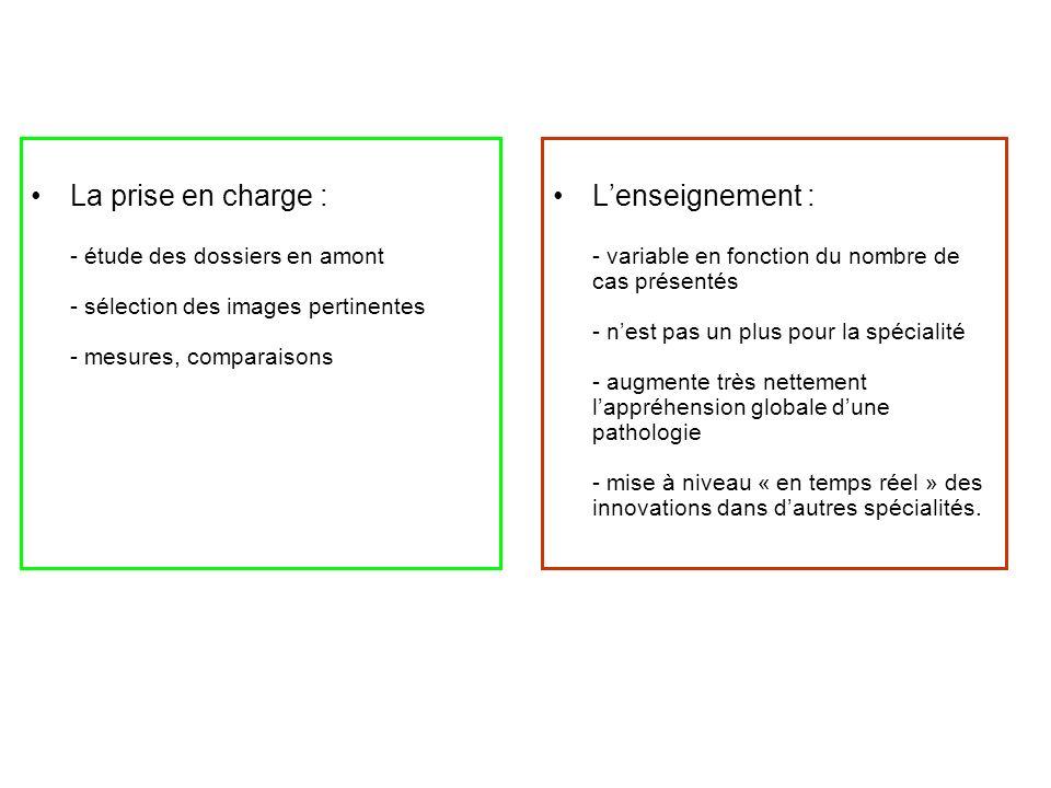 La prise en charge : - étude des dossiers en amont - sélection des images pertinentes - mesures, comparaisons Lenseignement : - variable en fonction d