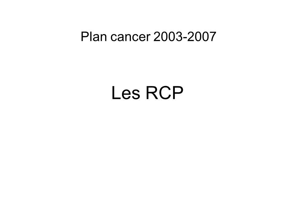 Les RCP Plan cancer 2003-2007