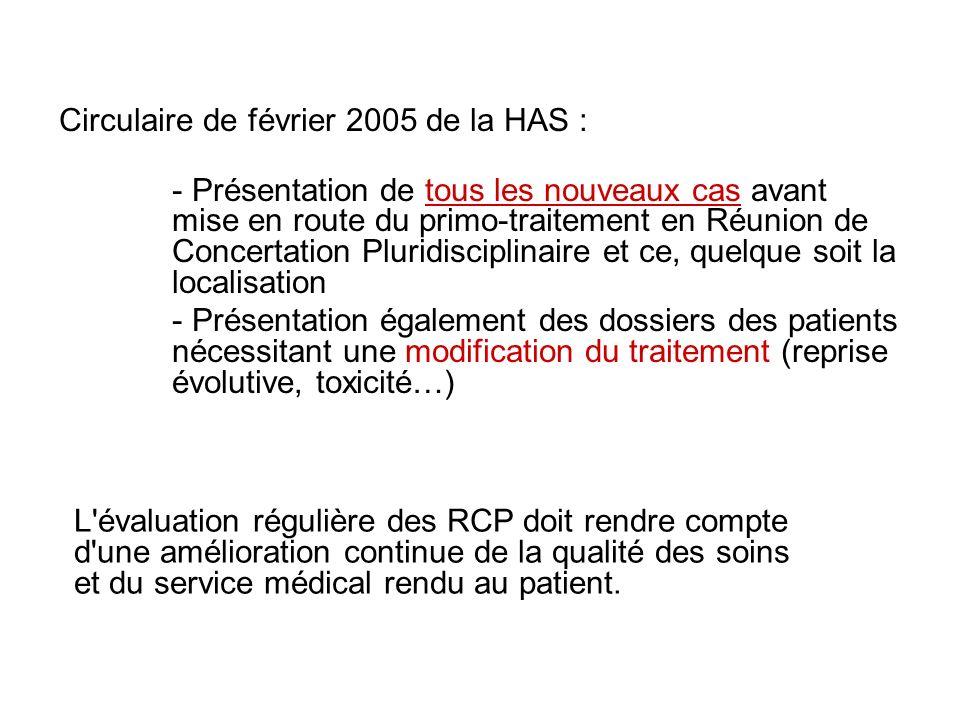 Circulaire de février 2005 de la HAS : - Présentation de tous les nouveaux cas avant mise en route du primo-traitement en Réunion de Concertation Plur