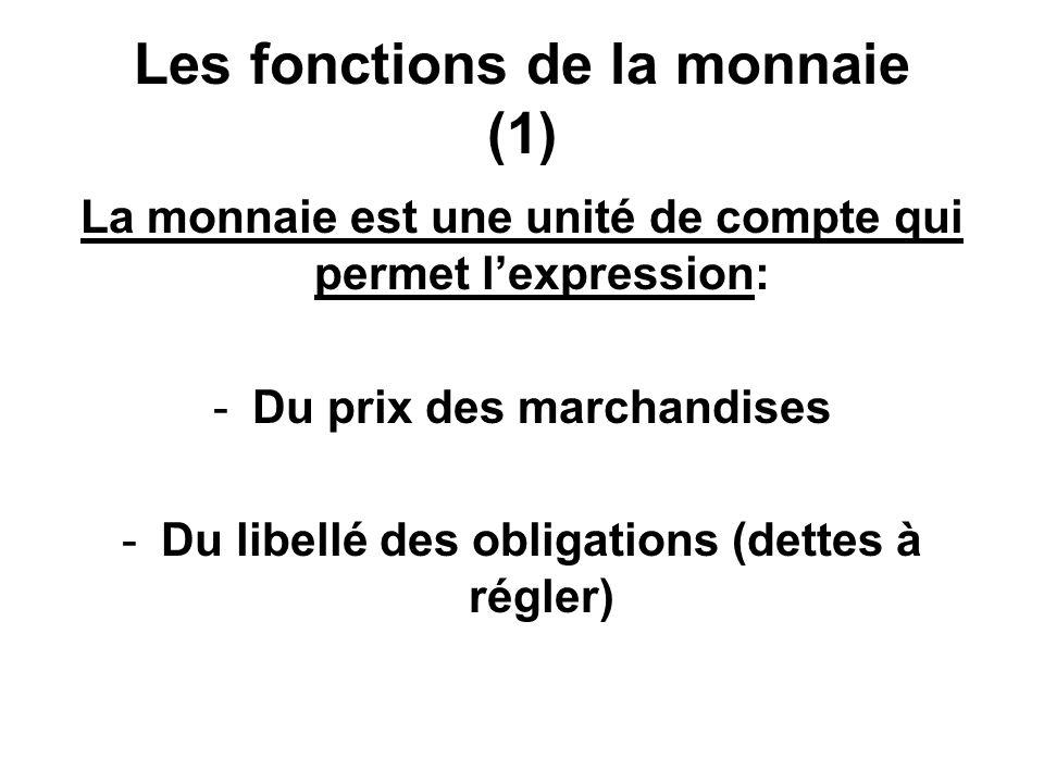 Les fonctions de la monnaie (1) La monnaie est une unité de compte qui permet lexpression: -Du prix des marchandises -Du libellé des obligations (dett