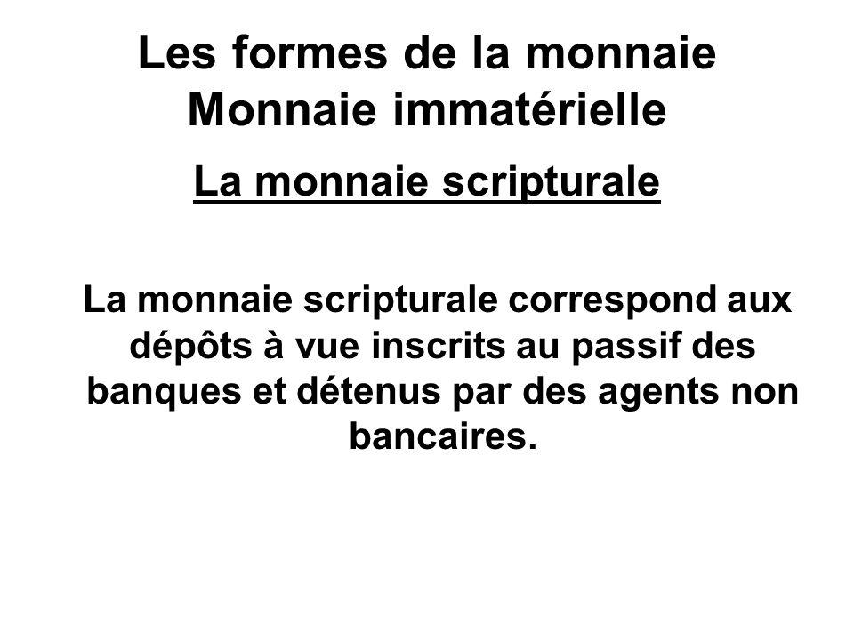 Les formes de la monnaie Monnaie immatérielle La monnaie scripturale La monnaie scripturale correspond aux dépôts à vue inscrits au passif des banques
