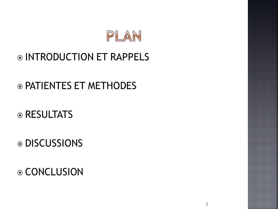 INTRODUCTION ET RAPPELS PATIENTES ET METHODES RESULTATS DISCUSSIONS CONCLUSION 3