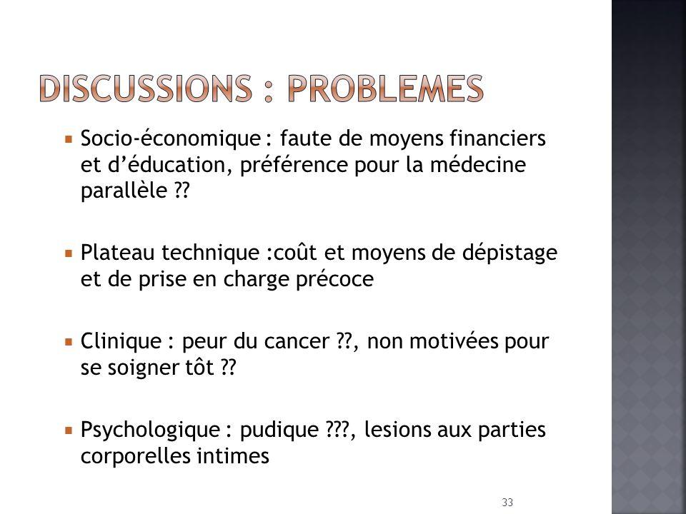 Socio-économique : faute de moyens financiers et déducation, préférence pour la médecine parallèle ?? Plateau technique :coût et moyens de dépistage e
