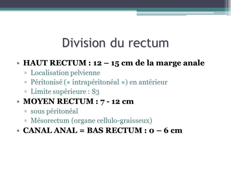 Division du rectum HAUT RECTUM : 12 – 15 cm de la marge analeHAUT RECTUM : 12 – 15 cm de la marge anale Localisation pelvienneLocalisation pelvienne P